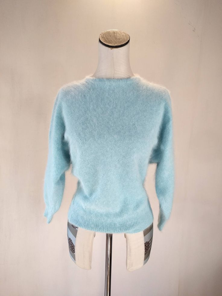 Robin's Egg Fuzzy Angora Sweater Top by RetroFascination on Etsy https://www.etsy.com/listing/574793273/robins-egg-fuzzy-angora-sweater-top