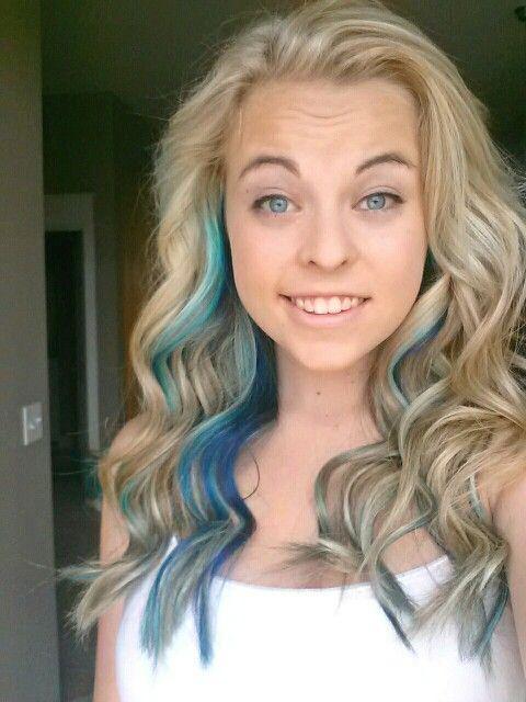 Platinum blonde hair with blue streaks photo