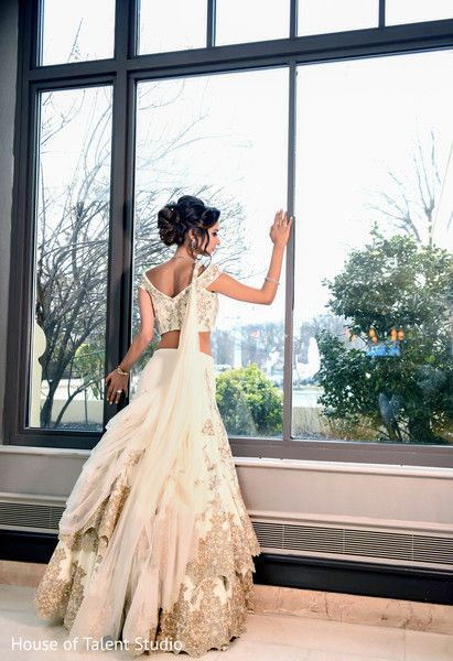 white wedding reception lengha