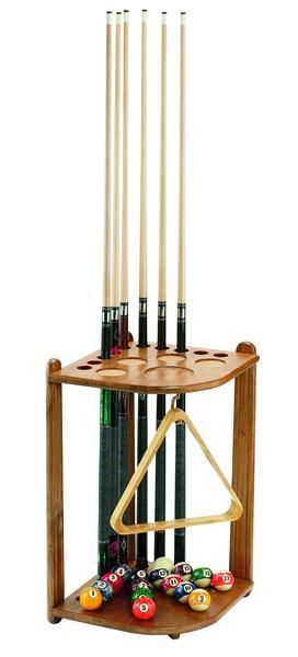 Save precious wall space, and avoid wall damage in your man cavewith this solid Oak wood corner floor standing pool cue rack, which holds all of your pool cues