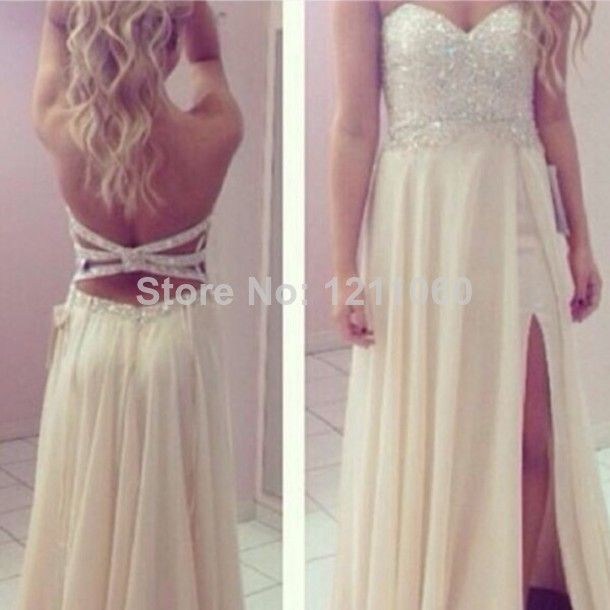Real Sample Evening Dress A-line Sweetheart Long Open Back Beaded Side Cut Out Prom Dress Chiffon Evening Dresses 2014 $139.00