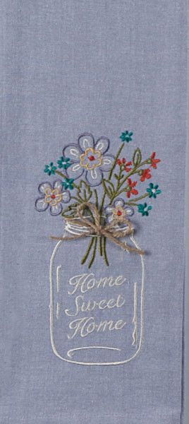"Embroidered Chambray Tea Towel with Mason Jar Design.   Embroidery saying: ""Home Sweet Home"". Appliqued top and twine bow accent.  Color:  Lavender,100% Cotton"
