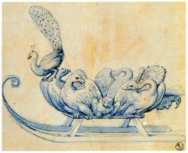 """Giuseppe Arcimboldo, """"Slitta con pavone"""" penna, inchiostro blu e acquerello,  cm 15,7 x 18,75  Gabinetto Disegni e Stampe,  Uffizi (Firenze)"""