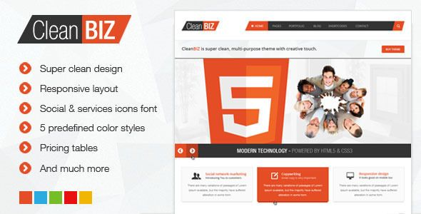 CleanBIZ is perfectly clean and modern multipurpose theme with creative touch. If you are looking for simple, clean but still creative theme for your business web site or personal portfolio you have come to the right place. CleanBIz is very powerful HTML5 template which is very customizable and easy to edit. It is made with latest technologies HTML5, CSS3 and jQuery with atention to details to provide you best user experience.