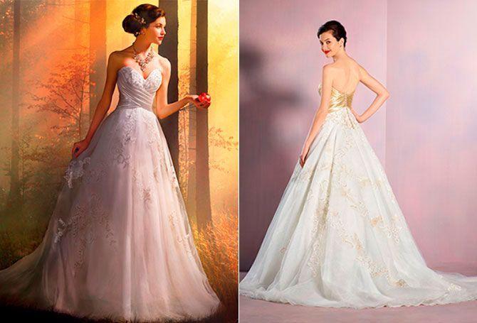 Blancanieves: inspira un vestido delicado y femenino que parece salido de un cuento de hadas. Eso sí, por las dudas, no comas ninguna manzana en tu gran día…