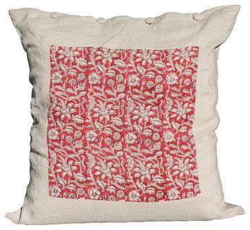 Pillow inspiration. One cool print + linen + linen covered buttons = a decent pillow.