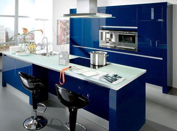 Синяя мебель на кухне | Ремонт квартиры своими руками
