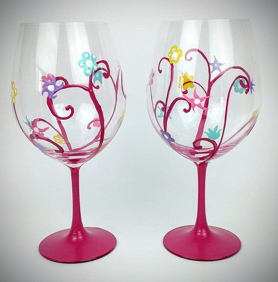 Magenta, spring flower wine glasses, pretty spring wine glasses, Waterford Wine Glass, set of two, Hand Painted glass, High Quality, large by jodistuff. Explore more products on http://jodistuff.etsy.com