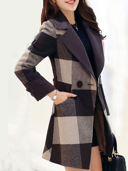 Stunning Lapel Breasted Patchwork Plaid Overcoats Overcoats from fashionmia.com