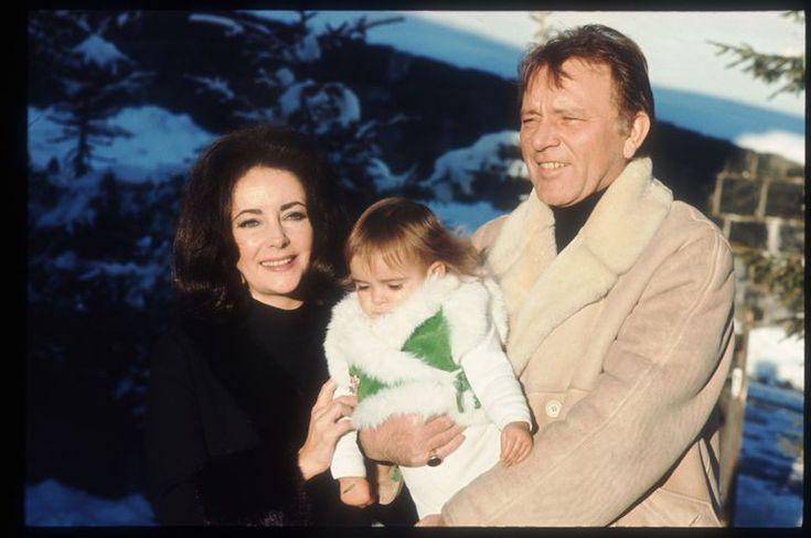 With granddaughter Leyla and husband Richard Burton on January 15, 1973.