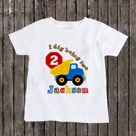 Personalized Construction Dumptruck Birthday Boy Shirt