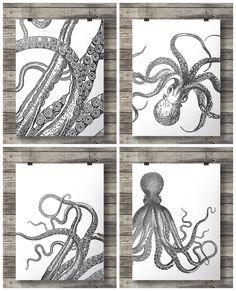 Octopus prints black + white tentacles Kraken Nautical art Set of four Printable wall art octopus art prints kraken print vintage ocean