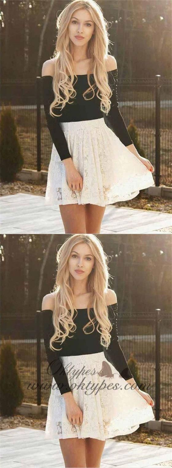 Two piece ivory lace long sleeves homecoming dresses online typ