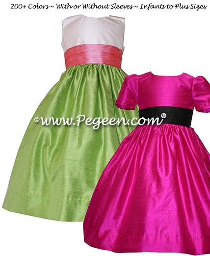 Flower Girl Dress Style 398 Pink, Green, Back. http://www.pegeen.com/flower-girl-dress-style-398.html available in 200+ colors and more than 1 billion style combinations #CustomFlowerGirlDresses #FlowerGirlDresses #weddings Visitor our virtual dressing room at http://www.pegeen.com/icloset