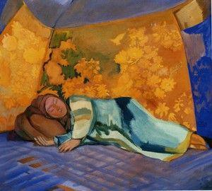 Спящая в кошаре, П. В. Кузнецов, 1911