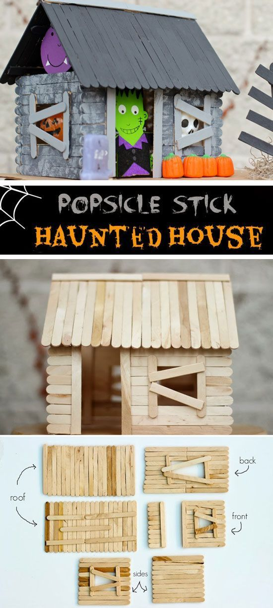 Popsicle Stick Haunted House   20+ DIY Halloween Crafts for Kids to Make   Easy Halloween Decorations for Kids