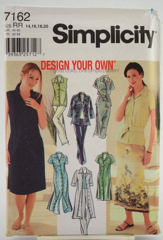 Simplicity Pattern 7162 Design Your Own® Misses' Petite Shirt-Dress, Shirt, Skirt and Pants Size 14 16 18 20 UNCUT by vintagecornerbazaar. Explore more products on http://vintagecornerbazaar.etsy.com