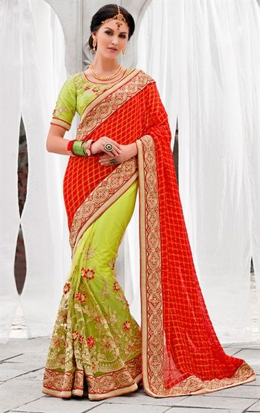 Attractive Red and Parrot Green Wedding Saree