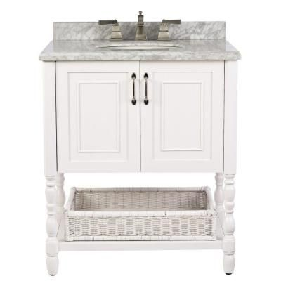 Home Decorators Collection Karlie 30 In Vanity In White With Marble Vanity Top In White With