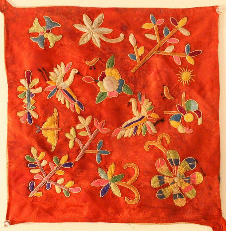 Antique Embroidered Silk Bojagi with Abundant Flora $400 12 x 12