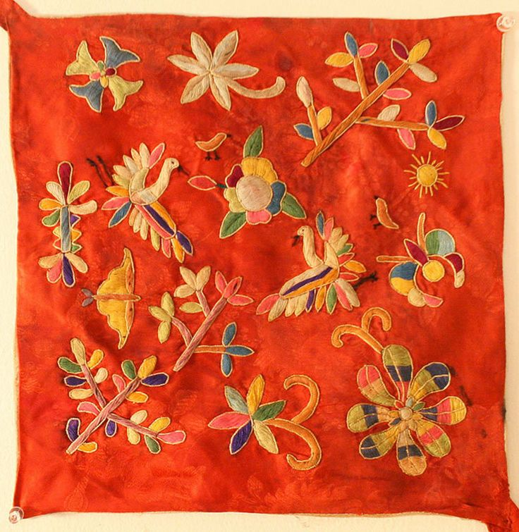 Antique Embroidered Silk Bojagi with Abundant Flora $400 12 x 12