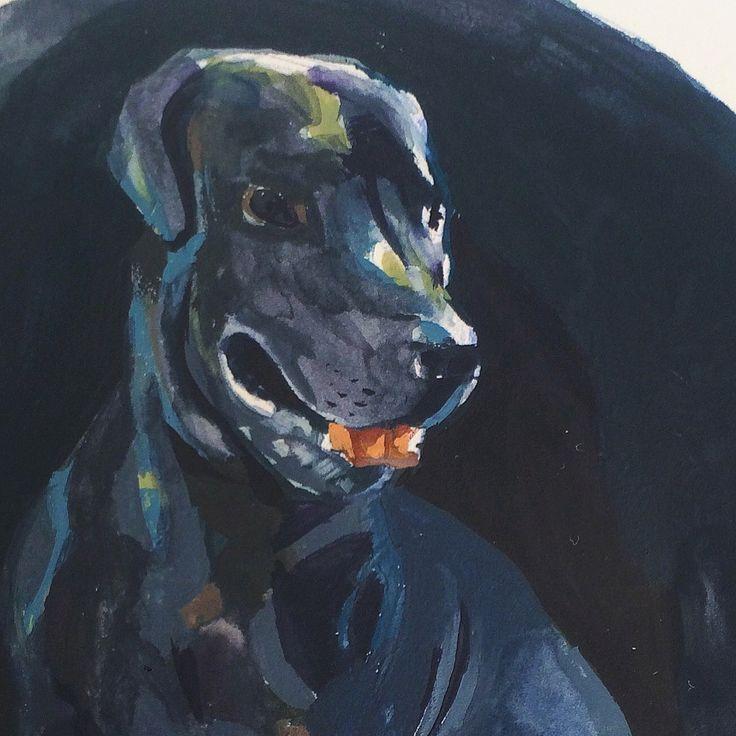 Gouache dog painting