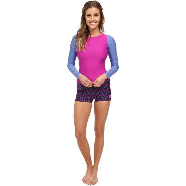 Roxy Outdoor Spring It On Rashguard Women's Swimwear, Blue ($45) ❤ liked on