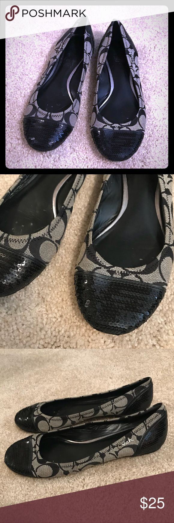 Black Coach Flats Barely worn! Comfortable and cute Coach Flats with black sequin on toes and back of heals. Coach Shoes Flats & Loafers