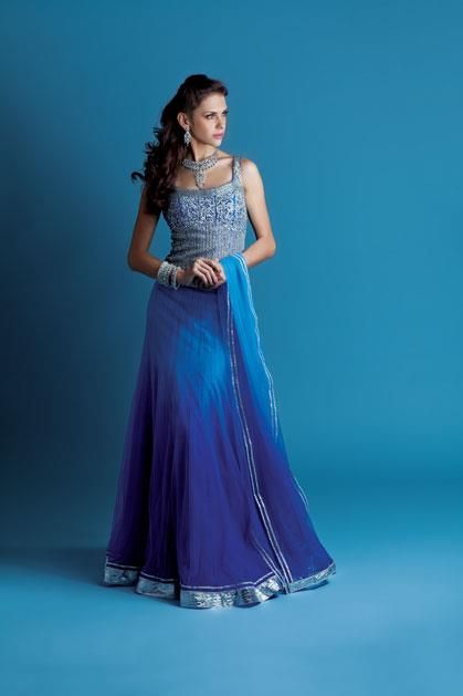 Dream Sky lengha, Net shaded ghagra choli embellished with sequins and stone work