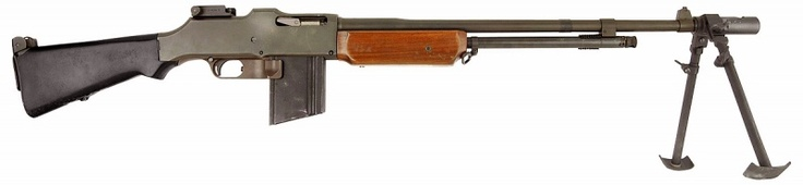 Browning Automatic Rifle. One of my favorite WWII weapons. Bonnie from the infamous bank robbing duo Bonnie and Clyde killed cops with one despite the weapon being 1 quarter of her body weight.