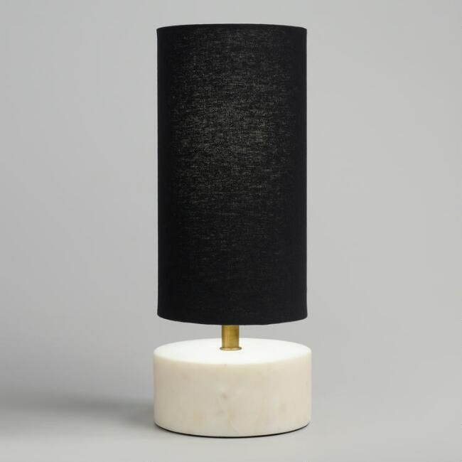 Mid Century White Marble Table Lamp With Black Linen Shade