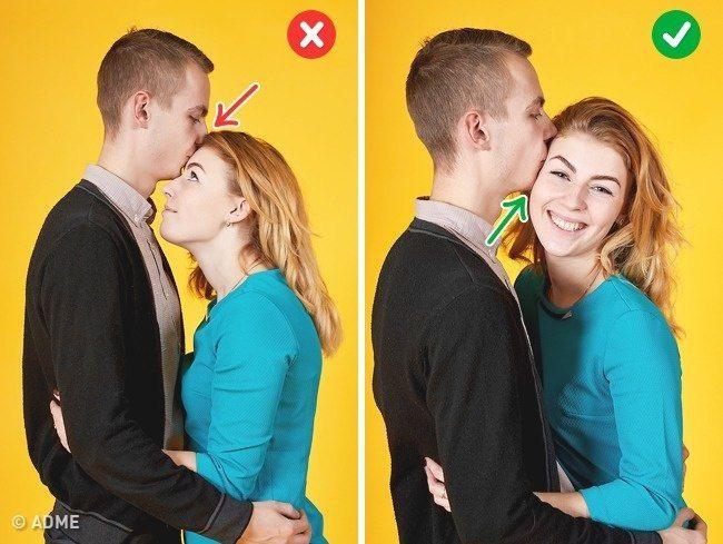 Полуобъятия с поцелуем. Фото7.  Избегайте поцелуев в лоб, девушке придется уткнуться к вам в рубашку. В такой позе можно поцеловать девушку в висок, но при этом не надо ее сгребать в охапку, достаточно приобнять слегка.