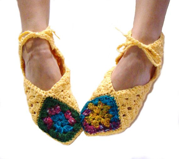 Yellow Slippers Granny Square Slippers by CreativeEndeavorsKS