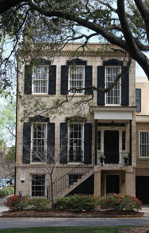 Old house, architecture is wonderful, trees William Wordley House, circa 1859 Savannah, GA