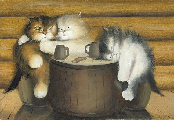 Happy Life N.1 - Kitten / Cat Art,  Print from Original Oil Cat Painting, Fun Cats, Cute Cats,  Bar Accessory Decor