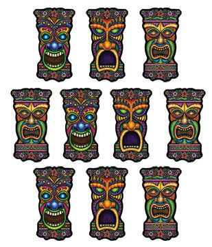 "With three different tiki head designs, these mini cutouts are sure to bring the island feel wherever they go! Each pack contains 10, 5"" cutouts that look great at luaus, pool parties, birthdays, and"