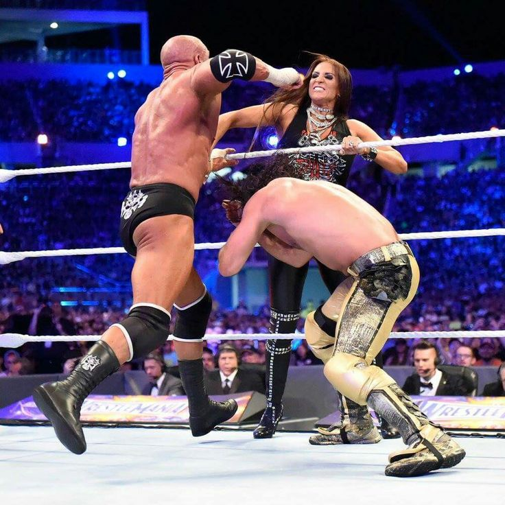Triple H was about punch Seth Rollins face but Seth Rollins duck down and Triple H stop himself before he hit his wife Stephanie