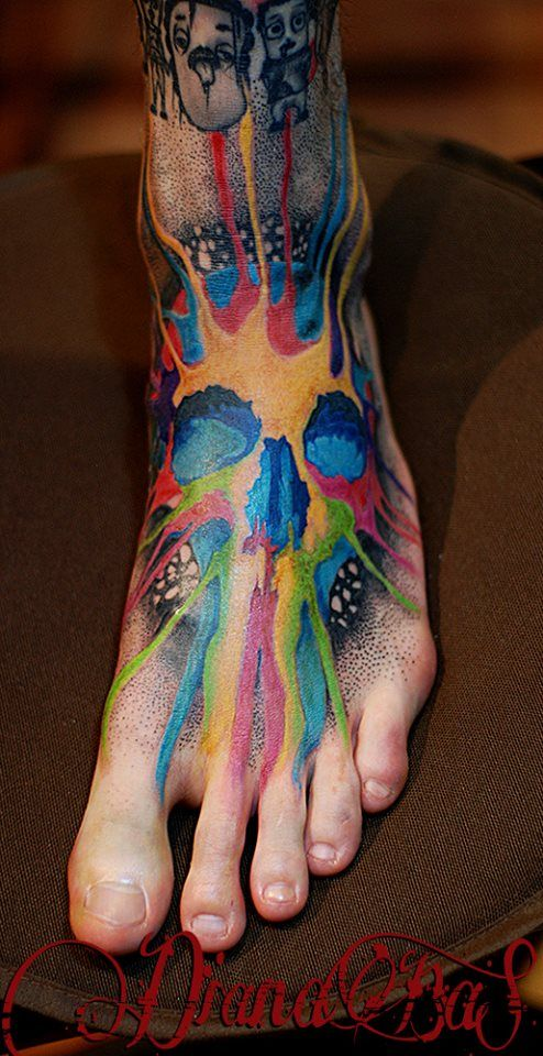 colorful skull tattoo...