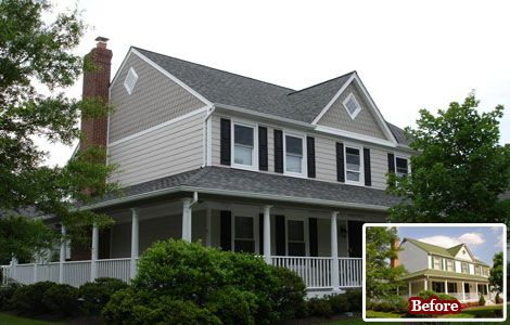 Craftsman style house trim remodeling replacement - Colonial house exterior renovation ideas ...