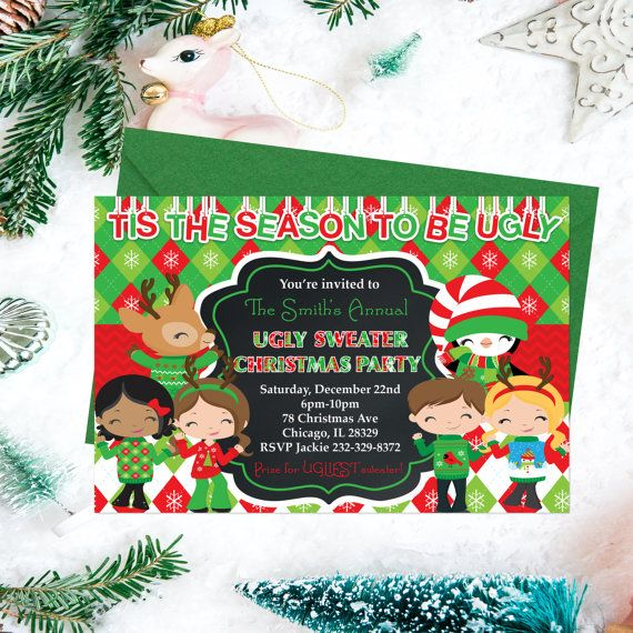 ugly sweater christmas party invitations by printyourinvite - Ugly Sweater Christmas Party Invitations