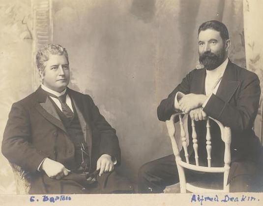 Edmund Barton (left), the first Prime Minister of Australia, with Alfred Deakin…