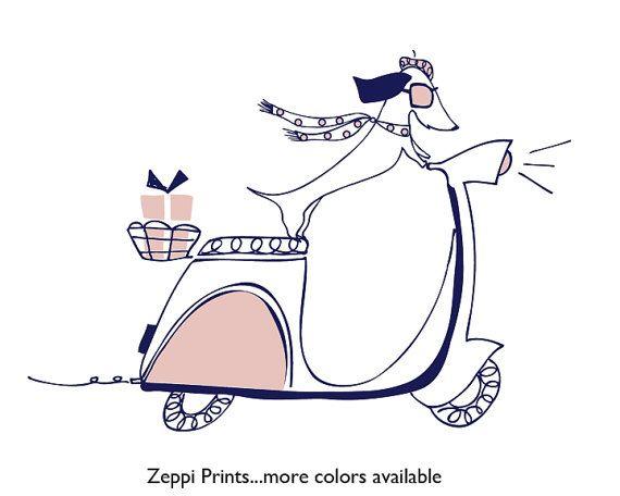 Nursery Girl Dachshund Dog Art Print Navy Pale Pink by ZeppiPrints, $10.00