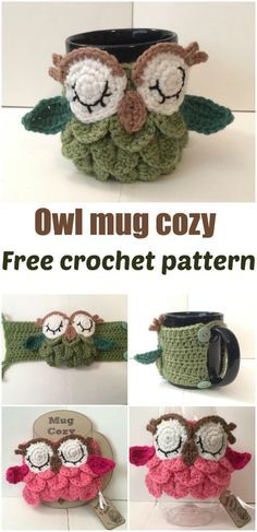 Free crochet pattern for an Owl Mug Cozy. ༺✿ƬⱤღ https://www.pinterest.com/teretegui/✿༻