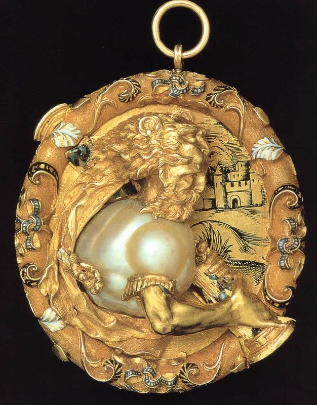 "Flemish manufacture. Pendant depicting Hercules, gold, enamel and pearl, Scaramazza, 16th century,via Christie""s Geneva"
