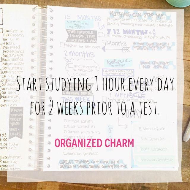 Study Tip Sunday: Start 2 Weeks Ahead! | Organized Charm | Bloglovin'
