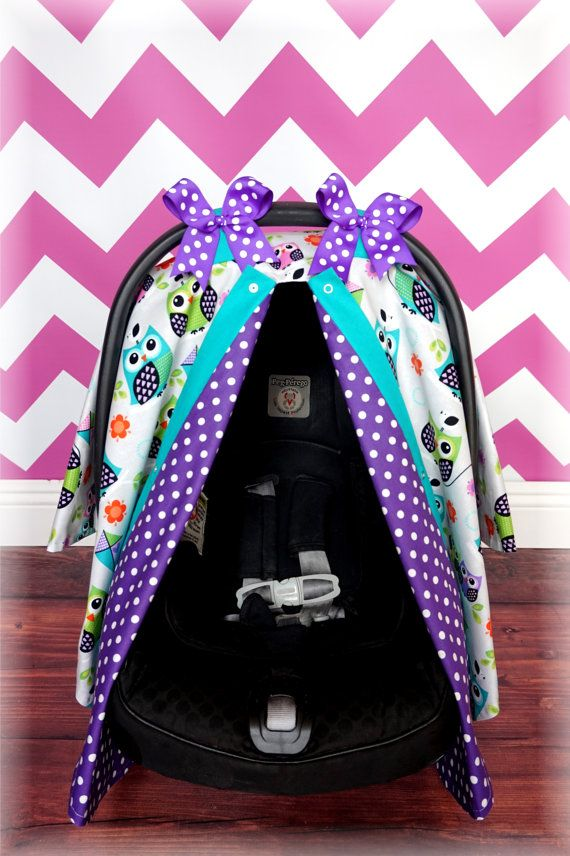 Grey Owl Teal Purple Polka Dot Carseat Canopy - The Canopy Shoppe, Canopy, Car Seat Cover, Baby Carrier