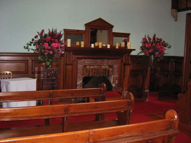 Marble fireplace in the Chapel