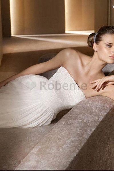 Robe de mariée chic elégant avec sans manches avec toile robe de mariée de déesse