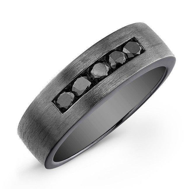 silver black diamond mens ring black rhodium