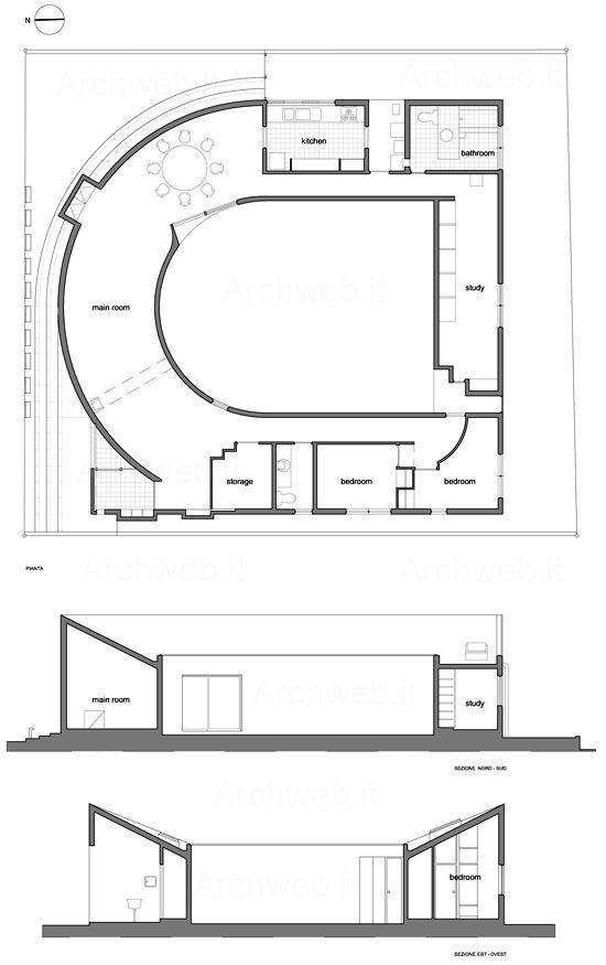 House U / Toyo Ito (1976, Tokyo) - plan, sections